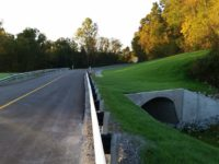 View from roadway of completed County Bridge 80 in Floyd County Indiana by CivilCon, Inc.