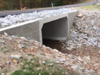 Side view of completed Arba Pike concrete culvert project in Wayne County Indiana by CivilCon, Inc.