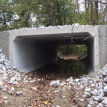 Front view of completed Arba Pike concrete culvert project in Wayne County Indiana by CivilCon, Inc.