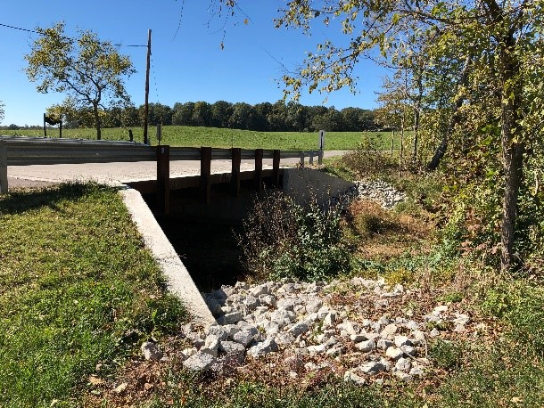 Side view of completed Smith Road Bridge 99 steel beam bridge project in Clark County Indiana by CivilCon, Inc.